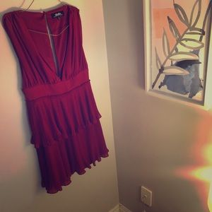 Tiered deep V red cocktail party dress